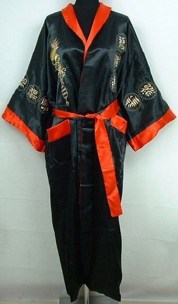 Reversible Embroidered Dragon Design Silk Kimono Robe Burgundy//Black