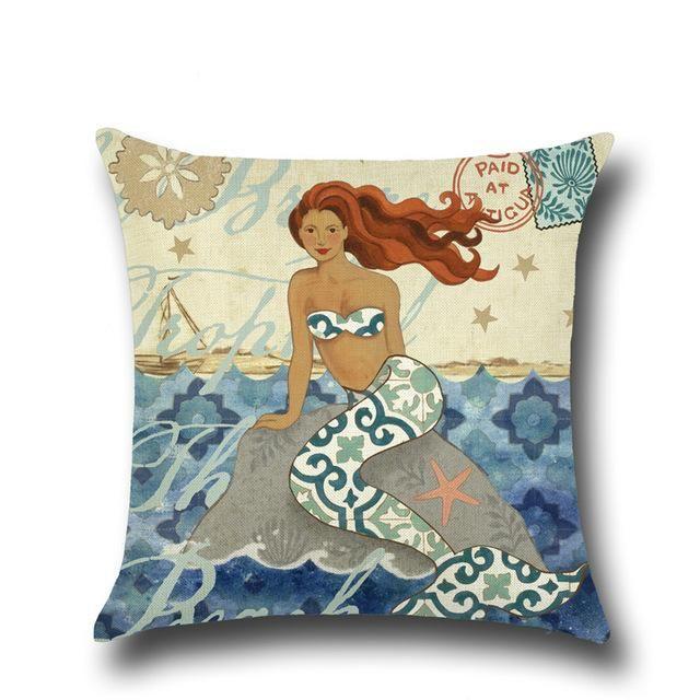 Mermaid Sea Shell Pattern Cushion Covers