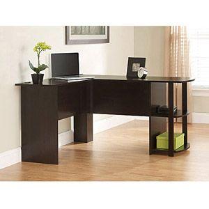 Ameriwood LShaped Office Desk with Side Storage
