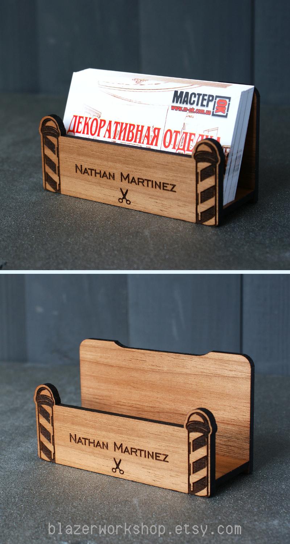 Barber Gift Shop Decor Personalized Barbershop Business Card Holder Desktop Case Custom Cardholder Hairdresser