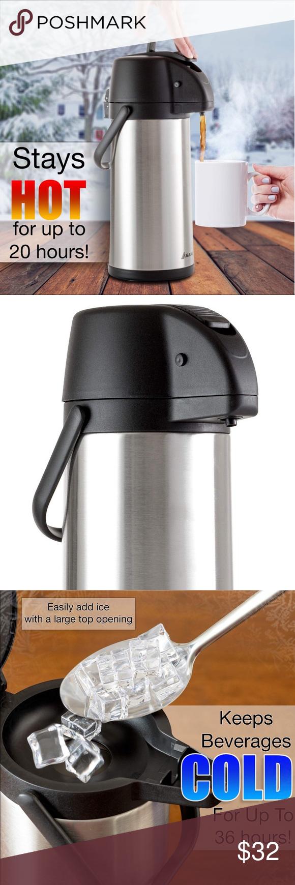Asani Thermal Coffee Airpot 101oz Carafe 17 Cups NWT