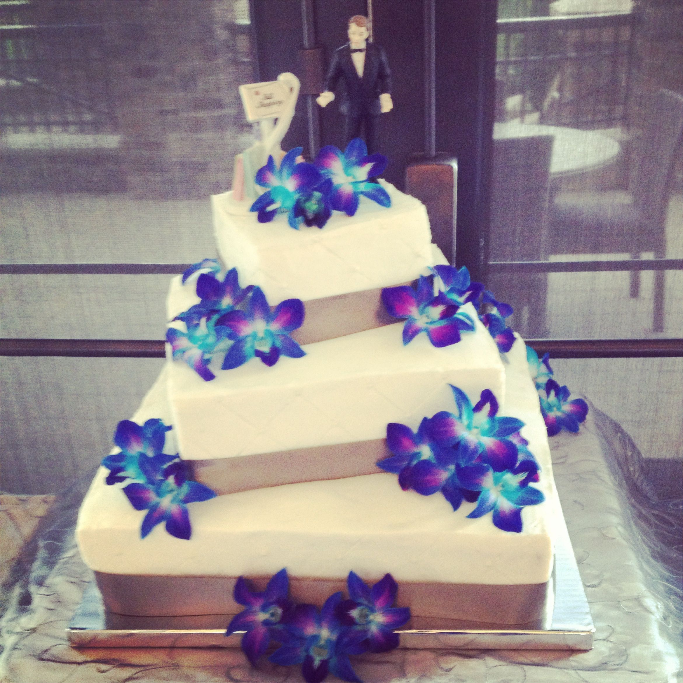 3 Tier 6 Layer Wedding Cake With Blue Orchids By Anna Payne With
