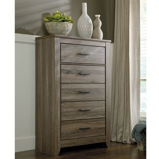 Signature Design by Ashley Zelen Grey Five Drawer Chest   Overstock™ Shopping - Great Deals on Signature Design by Ashley Dressers