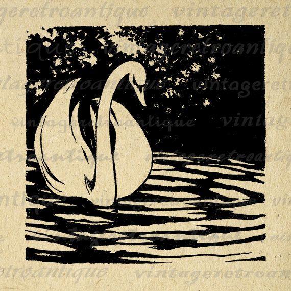 Iron Swan Linocut Print