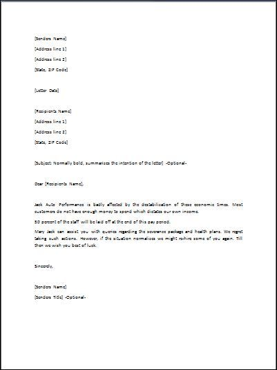 sample layoff letter due to lack of work
