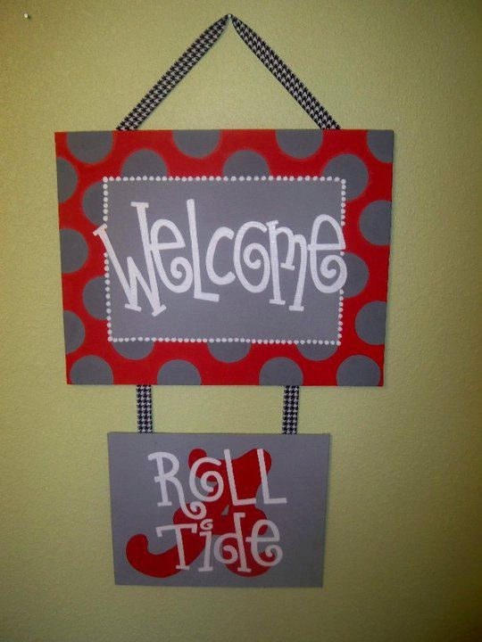 Roll+Tide+Welcome+Canvas+Painting+by+laartandstitches+on+Etsy,+$40.00
