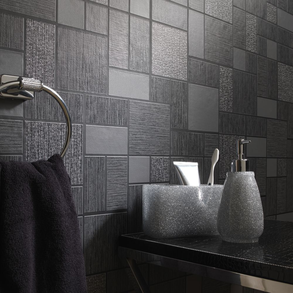 Buy Tiling On A Roll Wallcovering Sparkle Tile Black At Home Bargains In 2020 Sparkle Tiles Buy Tile Wall Coverings