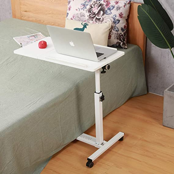 Amazon Com Rolling Laptop Table Rolling Laptop Desk With Wheels Rolling Laptop Stand Adjustable Overbed Bedside Table Overbed In 2020 Laptop Table Overbed Table Desk