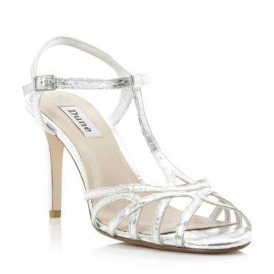 Dune Ladies Silver Metallic Strappy T Bar Heeled Sandal