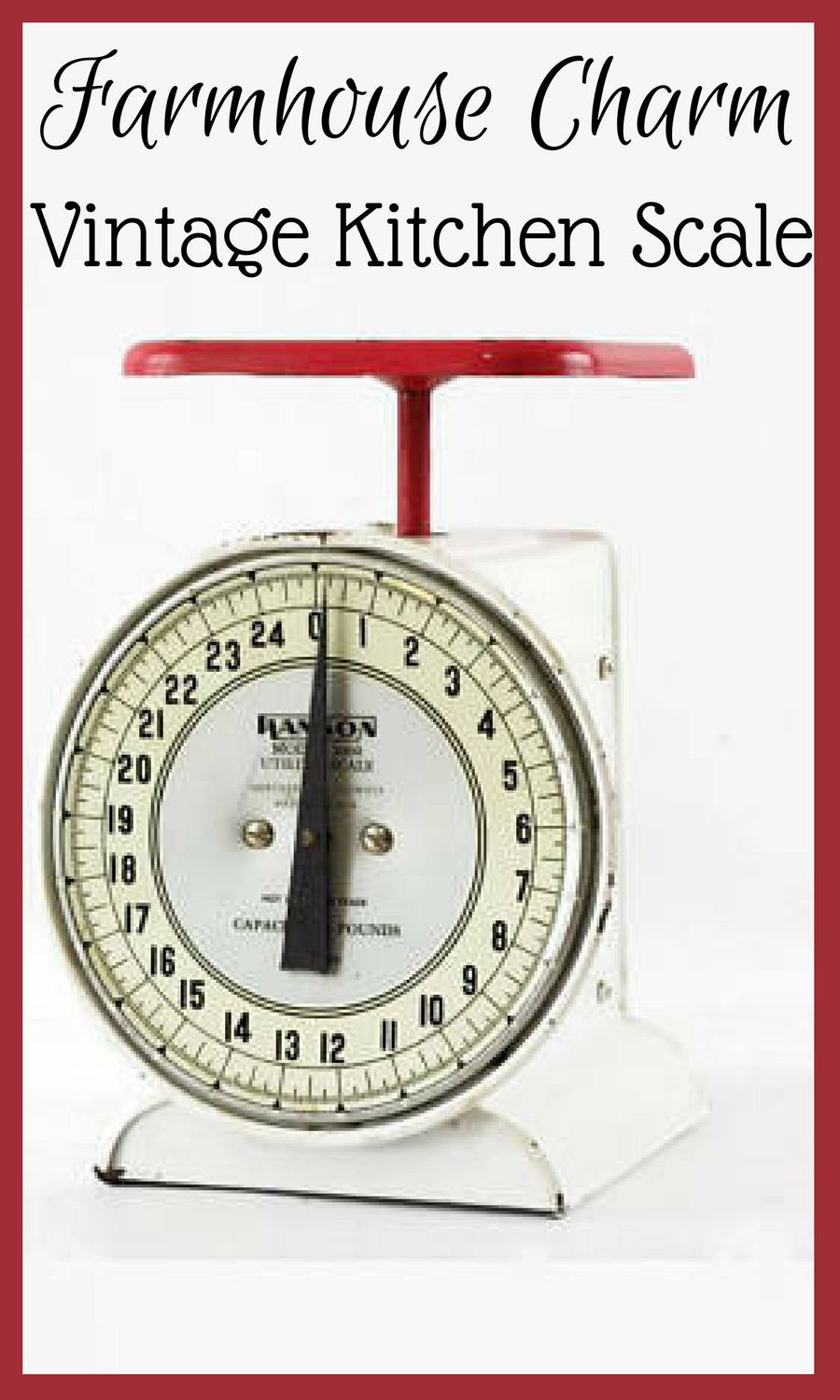 This Vintage Kitchen Scale Has A White Body Red Platform And