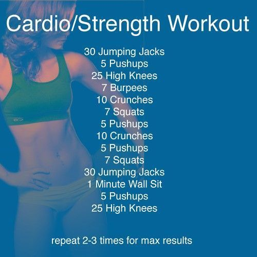 Cardio/Strength Workout - Repeat this 3x every other day for
