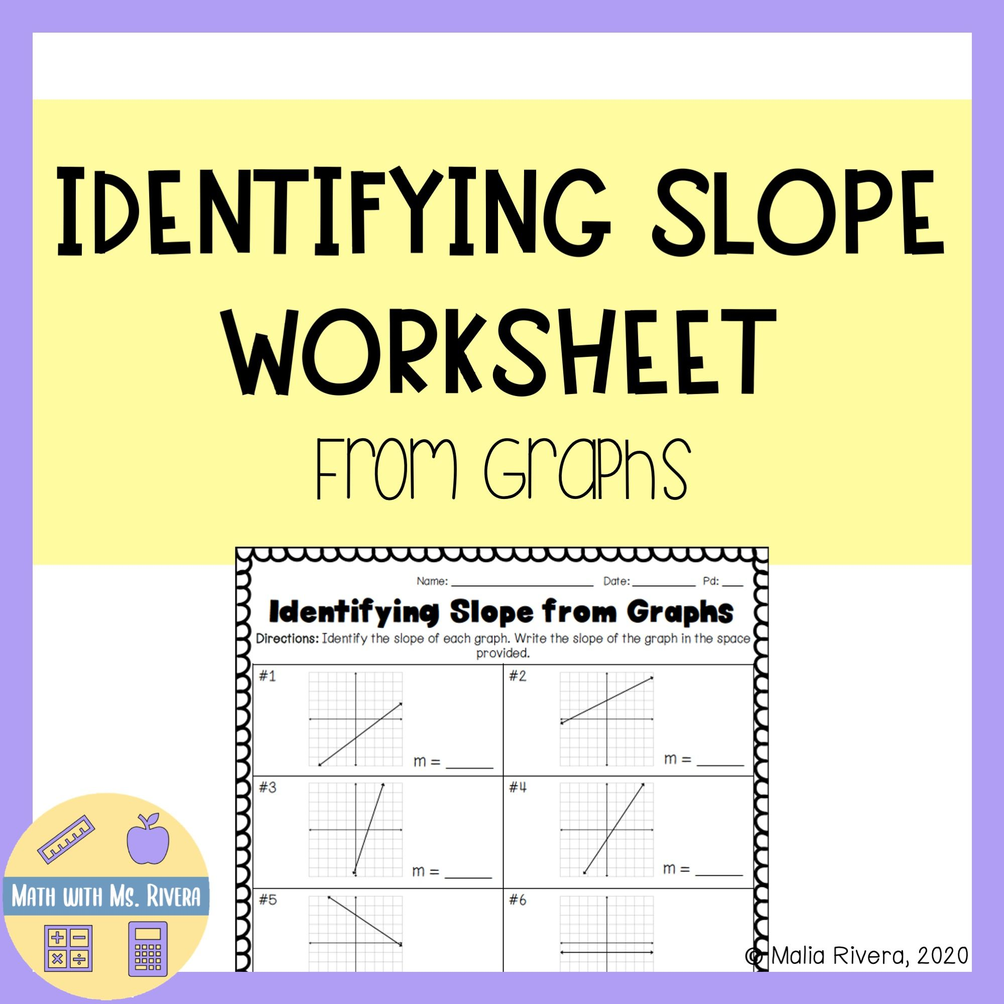Identifying Slope From Graphs Worksheet In 2020 Graphing Worksheets Slope Activity