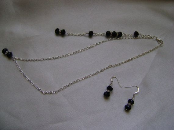 46851f067 Black Faceted Backdrop Necklace & Earring Set by PrettyLilThingsUK, £9.95