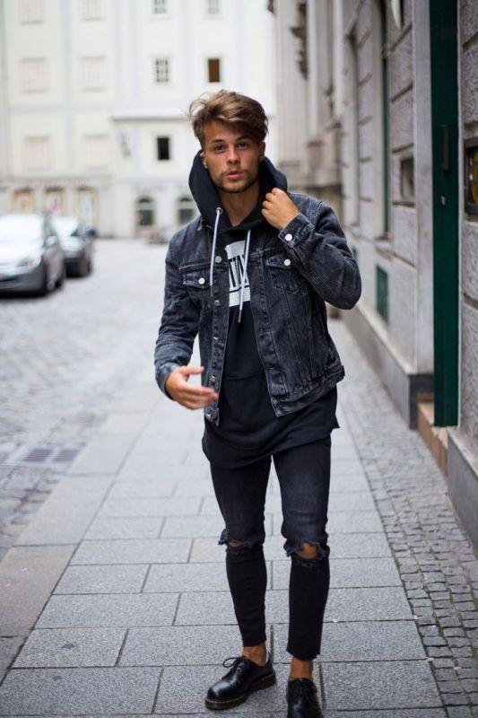 Denim Jacket Over Hoodie Sweatshirt Black Ripped Jeans 22 Click Image To See More Mens Fashion Urban Mens Street Style Mens Fashion Casual Urban