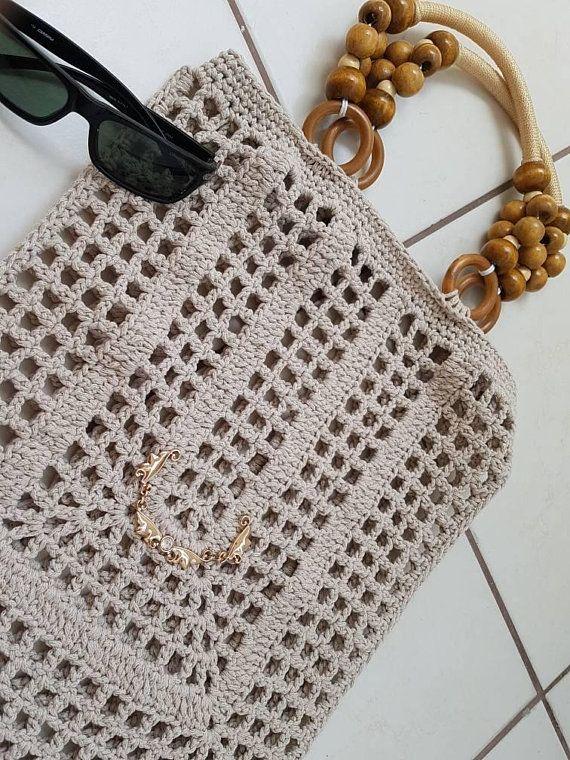 Stone Crochet Cotton Bag Filet Tote Bag Handmade Crochet Handbag Beach Bag Summer Bag With Wooden Handles Bohemian Gift Idea Shopping Bag Leather Handbag Patterns Tote Bags Handmade Crochet Handbags