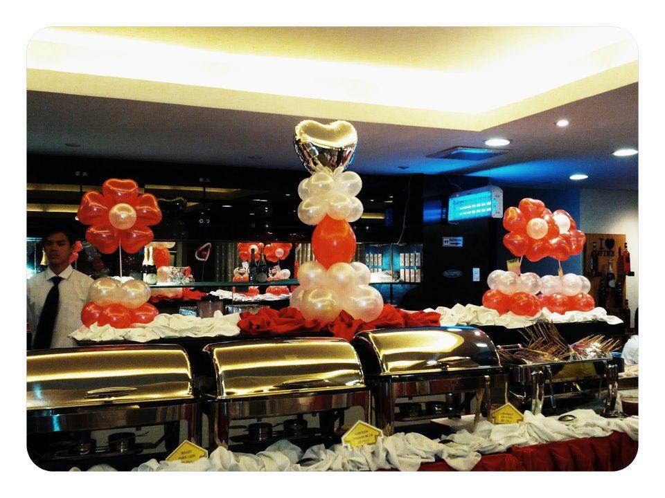 Buffet table centerpiece balloon creations pinterest