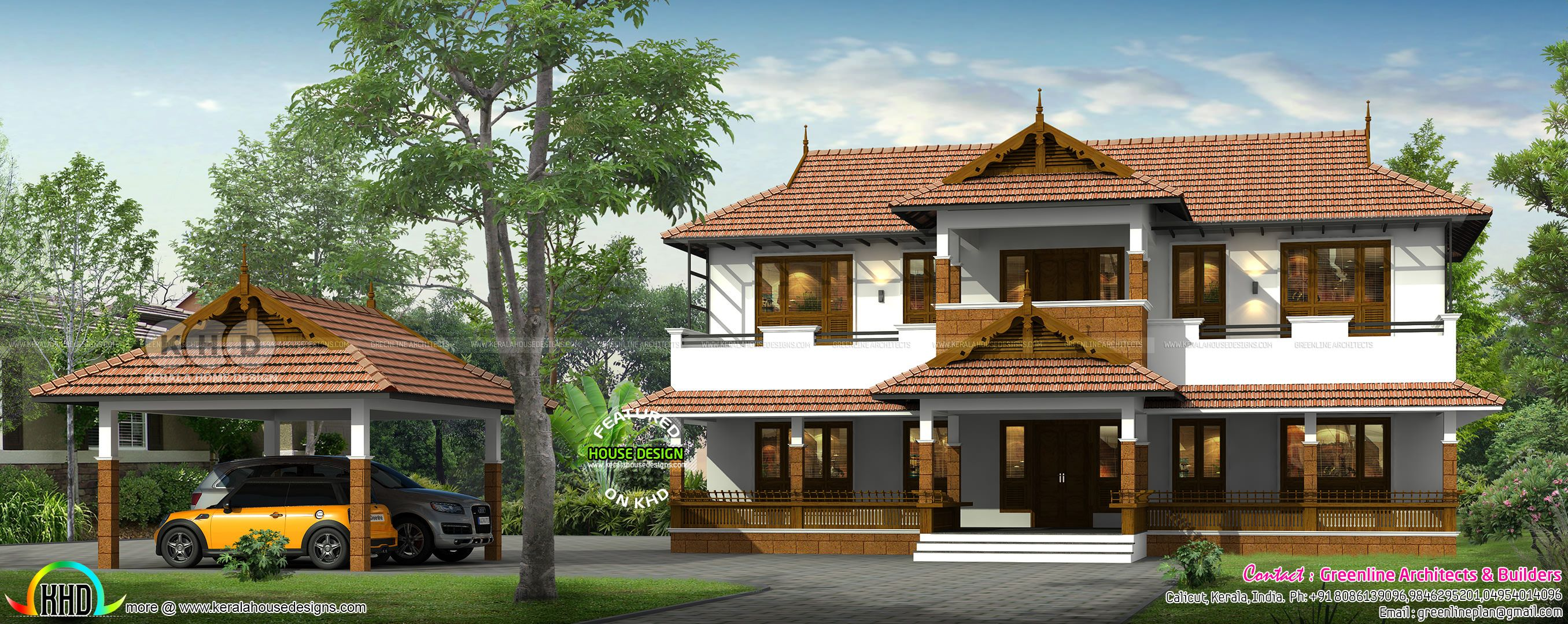 Kerala Traditional House With Detached Car Porch House Front