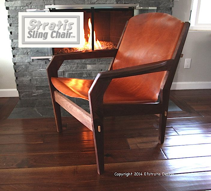 Stratis Sling Chair, Low Back One Piece 12 oz leather, Handmade Original Design, Mid Century Modern lounge chair by MODchair on Etsy https://www.etsy.com/listing/75306567/stratis-sling-chair-low-back-one-piece