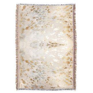 Cowhide, White-Gold, Metallic Acid Wash Print Throw Blanket