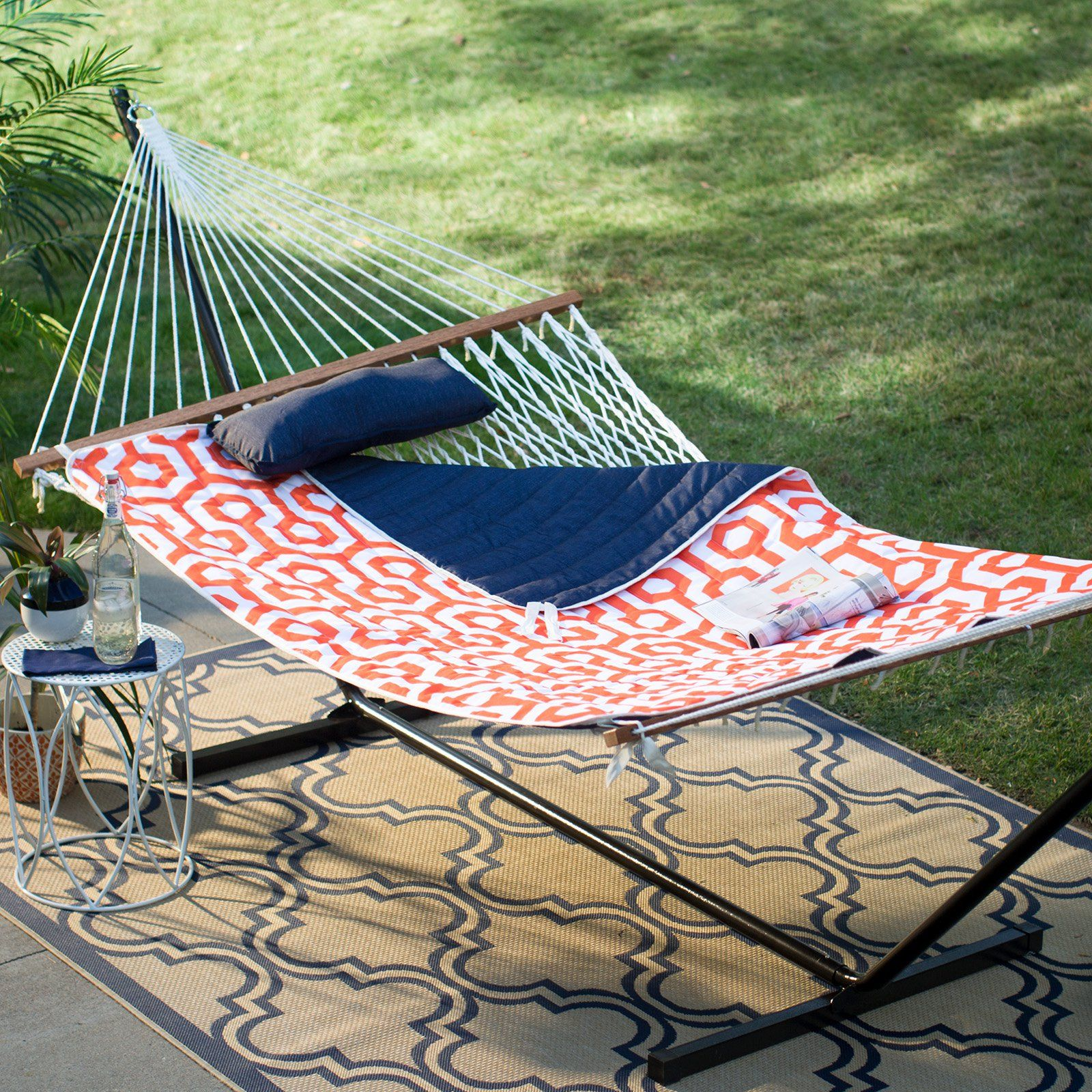 Island bay ft cotton rope double hammock with metal stand deluxe