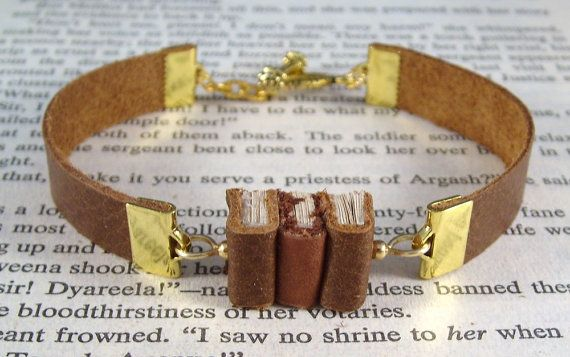Miniature Book Bracelet The Stacks Stack of Three Leather Book Bracelet by JanDaJewelry