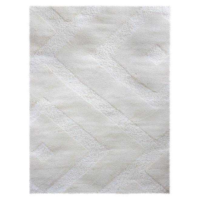 "Tapis shag « Romeo », 5' 3"" x 7' 5"", blanc"