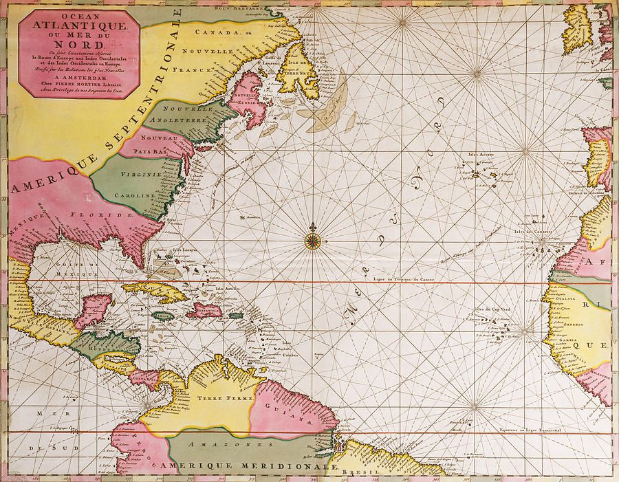 Map Of The Atlantic Ocean Showing The East Coast Of North ...