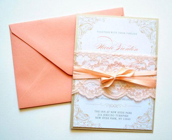 peach lace wedding invitations rustic lace por whimsybdesigns 695 - Peach Wedding Invitations