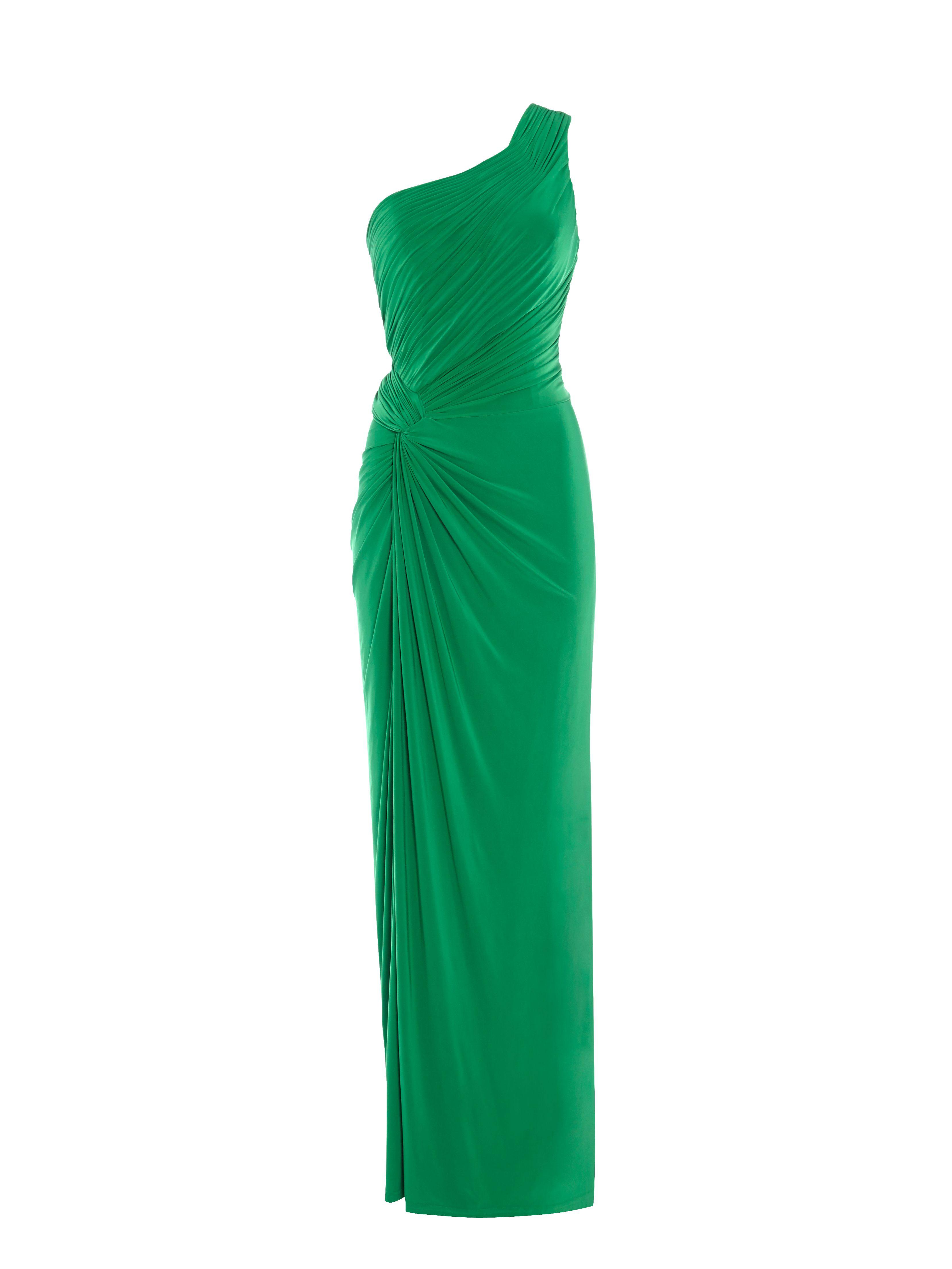 Emerald One Shoulder Jersey Dress