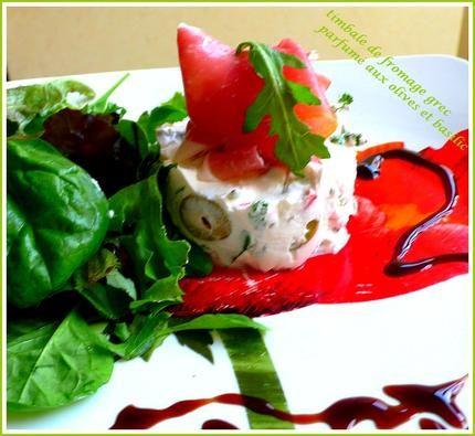 Timbale+de+fromage+grec,+parfumé+aux+olives+et+basilic