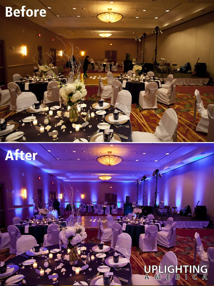 Evergreen Marriott Before-and-after Uplighting Sample. See