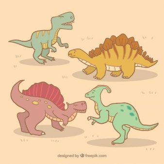 Collection of hand drawn dinosaur