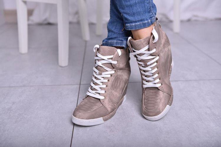 Sneakersy Na Koturnie Bezowe High Top Sneakers Sneakers Shoes