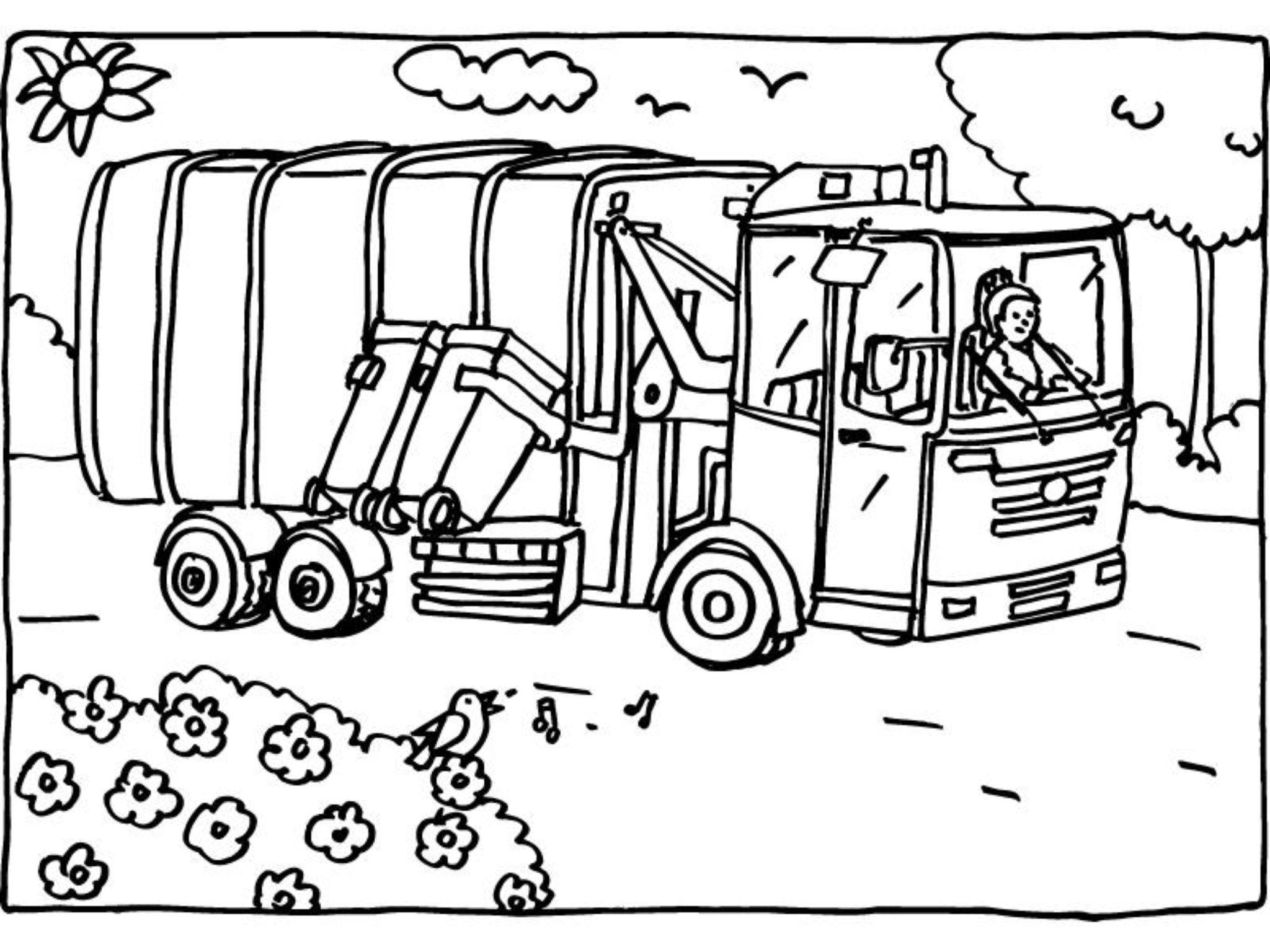 kleurprent vuilniswagen afval creative