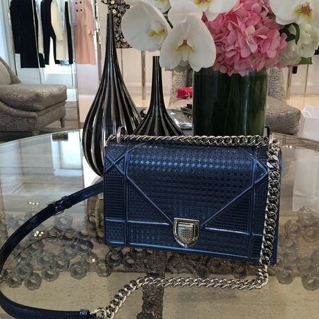 1366b0cabb06 Dior Blue Metallic Perforated Diorama Bag | Fashion | Dior handbags ...