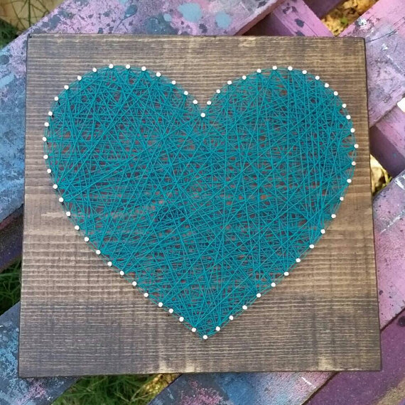 $19.99 Etsy  String Art Heart in Your Color Choice  by NailedItDesign.etsy.com Nail Art Heart, Blue String Heart, Wood Heart Sign