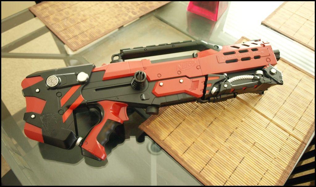Custom Modded NERF Longshot cs-6 gun. With working LED Light, custom painted