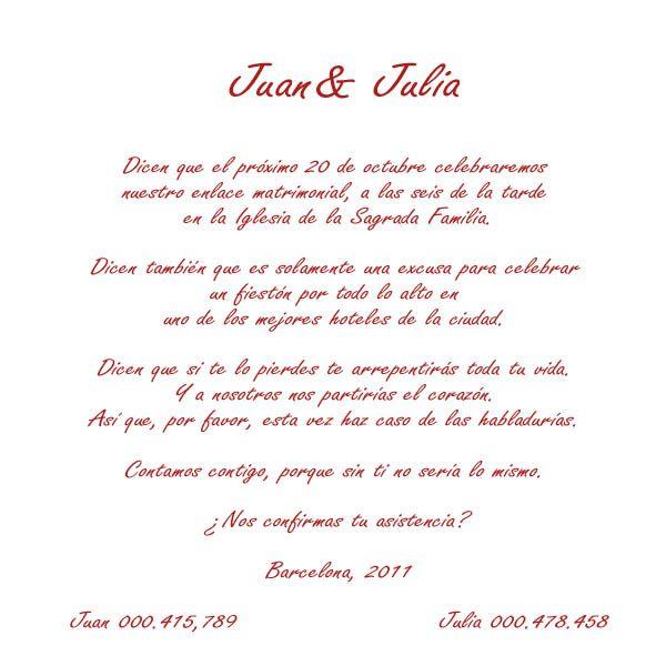 Bendiciones Del Matrimonio Catolico : Textos para invitaciones de boda civil decoraciones