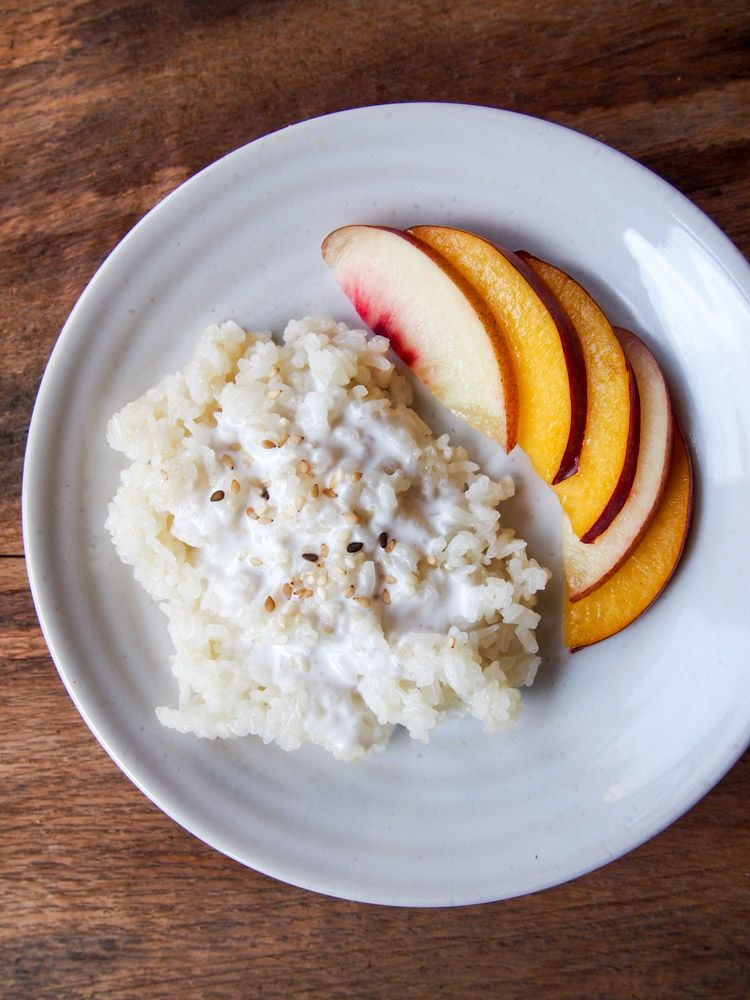 Coconut Milk Sticky Rice with Peach | Coconut recipes ...