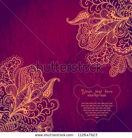 Vintage invitation corners on grunge background with lace ornament - best of luxury invitation vector