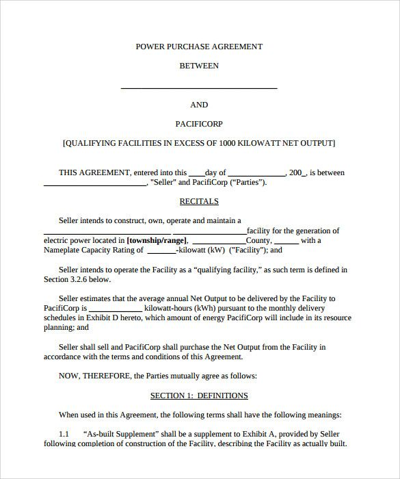 power purchase agreement template 28 images sle power purchase