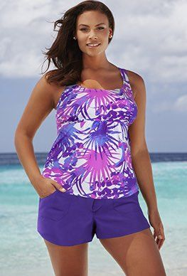 Plus Size - Beach Belle Areca Flared Cargo Shortini | ropa de baño ...