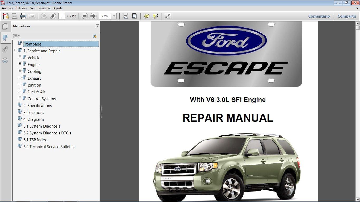 Ford Escape 2008 2012 V6 3 0 Workshop Repair Manual Manual De Taller Manuales De Reparacion Ford Ford Modelo A