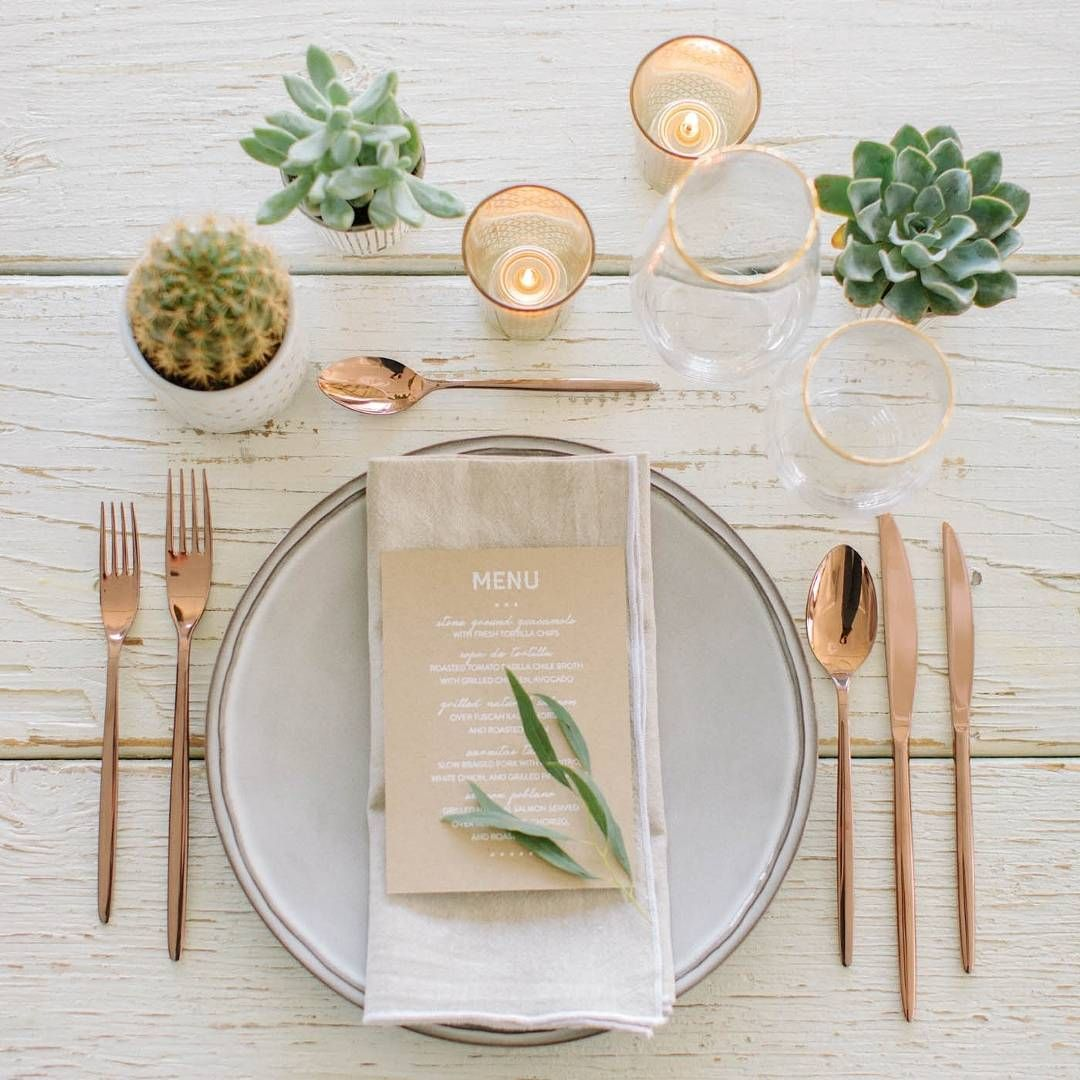 """We love this copper table setting! This one is from the Ladies Luncheon shoot, as featured on the #hooraymag #blog. Photography by @stevesteinhardt +…"""