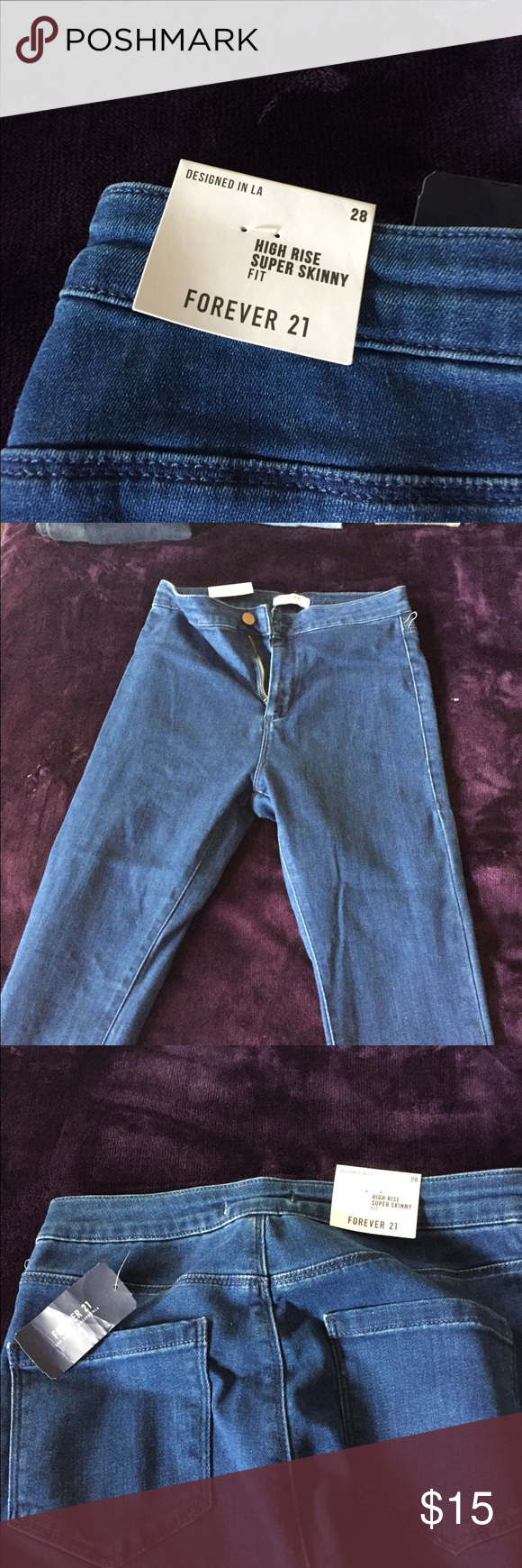 Forever 21 blue jeans New with tags- forever 21 high rise super skinny jeans, size 28. Super soft jeans Forever 21 Bottoms Jeans