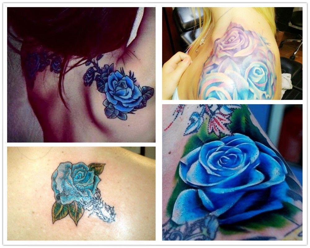 2014 Fashion Blue Rose Watercolor Tattoo Ideas On Shoulder Hinh