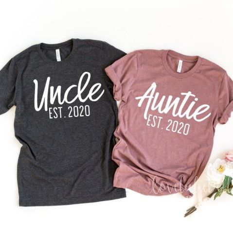 Auntie Uncle Est 2020 shirt, promoted to auntie shirt, promoted to uncle shirt, aunt uncle shirts, aunt shirt, pregnancy announcement shirts