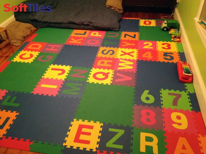 Playroom floor using SoftTiles Alphabet Foam Mats, mixed with a few SoftTiles 2x2 Blue and Green Mats. We also sell letters individually so that you can spell your child's name.
