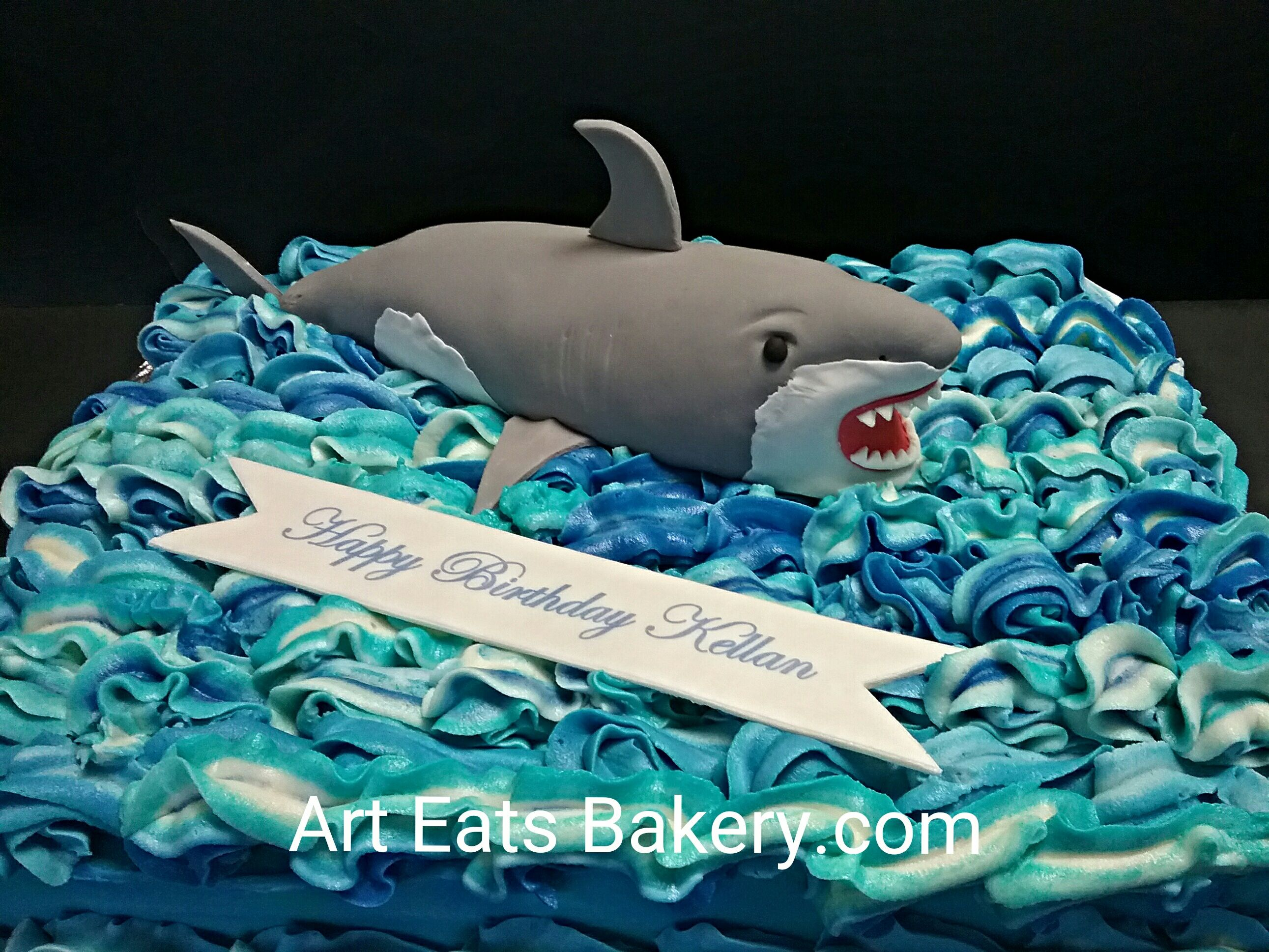 Its A Birthday Eating Shark Edible On Blue Buttercream Waves Cake Bakery Birthdaycake Greenville Simpsonville