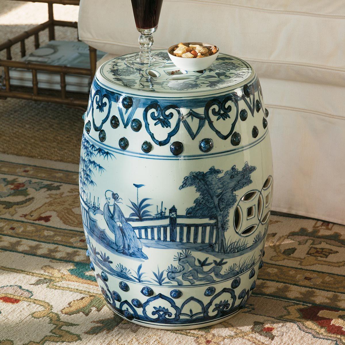 Handpainted Chinese Barrel Seat, Ceramic - Pale Blue #OKA #Furniture #Design